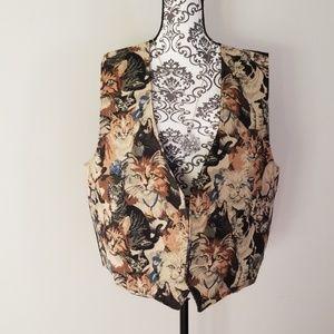 Vintage CAT Tapestry Vest